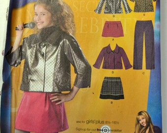Simplicity Sewing Pattern 2833 Girls' Jacket Skirt Blouse Pants  Uncut Complete Size 8.5 to 16.5