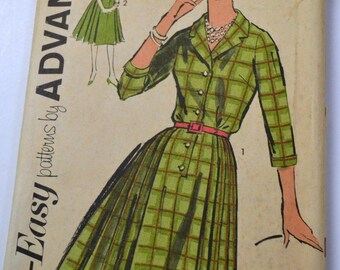 Vintage 1960s Sewing Pattern Advance 2730  Misses' Shirt Dress  Bust 34 Inches Complete