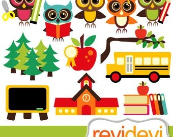 Back to school clipart / Clip art Owl School, digital images, commercial use / apple, books, school bus