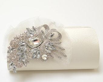 Rhinestone Bridal Clutch in Ivory - Bridesmaid Clutch - Formal Clutch - Rhinestone Clutch - Organza Flower SALE