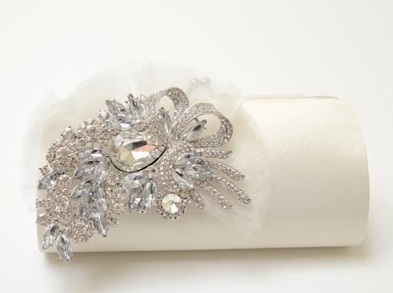 Rhinestone Bridal Clutch in Ivory Bridesmaid Clutch Formal