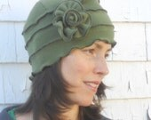Fleece Cloche Hat - Flapper Hat - Moss Green - Twenties Style - Annique
