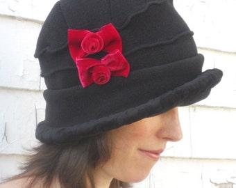 Polar Fleece Flapper Hat - Black Vintage Style Cloche - Red Velvet Bows - Emma Rose