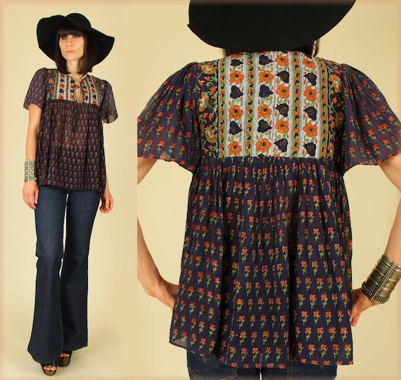 ViNtAgE 70's Sheer India Natural Cotton Voile Babydoll Tunic Top S