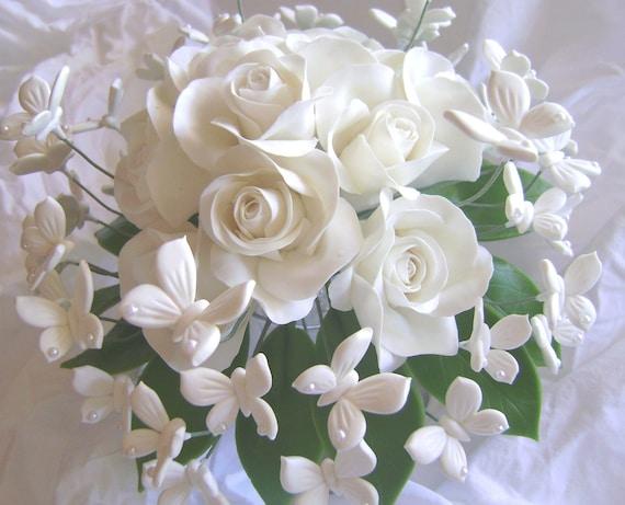 Wedding Bouquet Clay White Rose White Butterflies Handmade Clay Bridal Bouquet