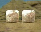 BRUSHED GOLD solid 14k square post earrings by Crazy Daisy Designs