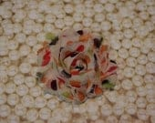 Halloween Party Dot Print Shabby Chic Frayed Chiffon Rosette Fabric Flower Hair Clip Clippie Fall