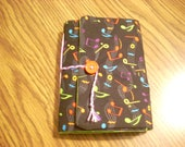 softcover handbound trifold journal-musical notes