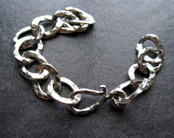 Solid Sterling Silver Hammered Extender Chain Hook and Eye Clasp - 3 inches - oxidized
