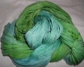 Handpainted Yarn - 4/2 Soft Cotton Yarn  --RAINFALL-420 yards--