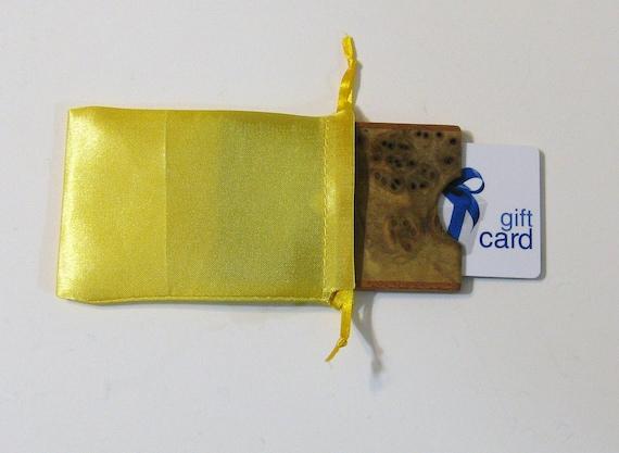 Gift card or Cash Presentation Box Made of Myrtle Burl Wood