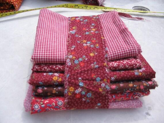 Fat Quarter Bundles of 6 Vintage 1960s 1970s Calico Flowers Cranberry Maroon Shades