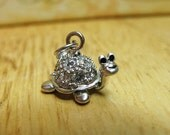Sterling Silver CZ Turtle Charm Box Turtle Tortoise Cubic Zirconia