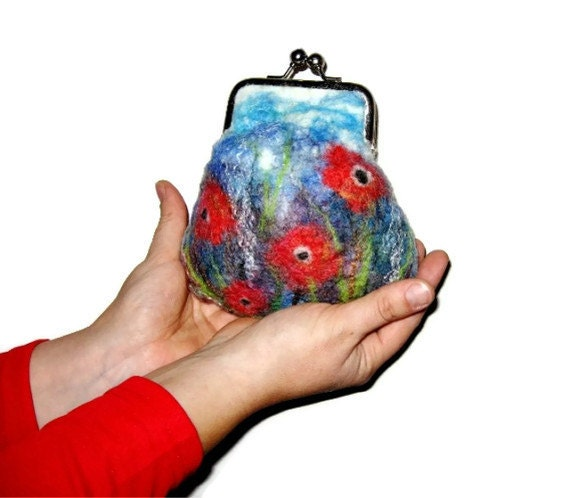 Felted Purse pouch clutch Make up bag travel bag