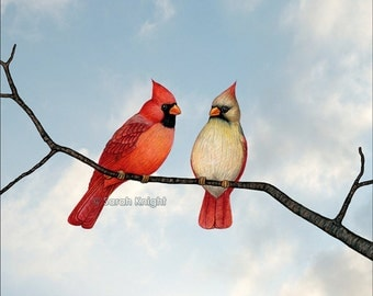 cardinal couple - signed digital illustration art print 8X10 inches by Sarah Knight, red beige birds blue sky beaks branch brown nature