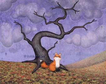 the rainy fox - signed illustration art print 8X10 inches, autumn tree violet purple lavender brown fall leaf litter orange clouds fox art