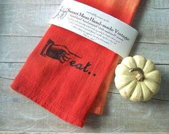 Orange Kitchen // Eat Decor // Ombre Flour Sack  // Fall Harvest // Prim Kitchen // Hand Towel // Rustic Kitchen