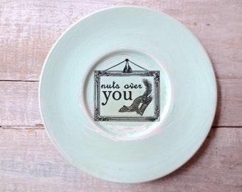 Nuts about You Sign // Woodland Nursery Decor // Rustic Squirrel // Chipmunk // Eco Friendly Love  // Rustic Shabby Chic // MINT GREEN