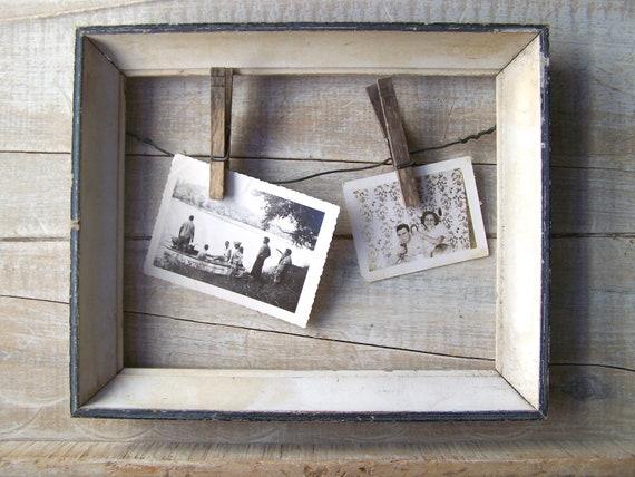 Farmhouse Kitchen Decor // Beach Cottage Frame //  Recipe Holder // Vintage Picture Frame // Weathered Blue & White