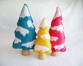 Felt Tree Scenery - Bright Snowy Forest - Set of 3 Felt Trees - Made to Order