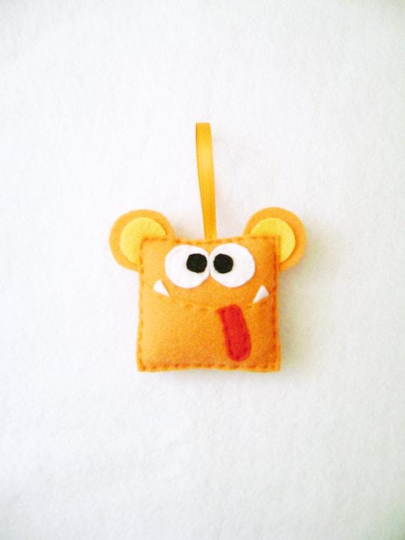 Monster Ornament, Orange Monster, Christmas Ornament - Hamilton the Monster - Made to Order, Gifts for Kids, Stocking Stuffer