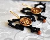SALE - Button Earrings Antique Button Tatted Earrings Black Ebony Neo Victorian Golden Goldstone