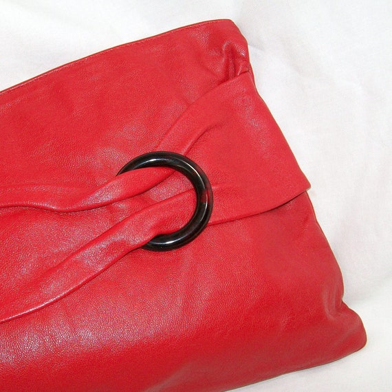 """Lipstick Red Leather Italian Clutch 12"""" x 8"""" Size Vintage 1980s"""