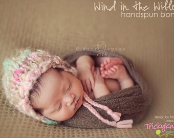 Newborn Girl Hat Photo Prop Chunky Handspun Bonnet Beanie for Baby Girl Photo Shoot original designer TrickyKnits Tricky Knits