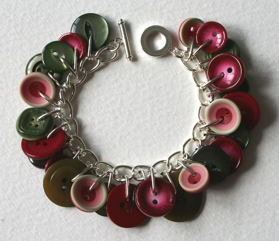 Button Bracelet Raspberry Pink Muted Vintage Sage Green