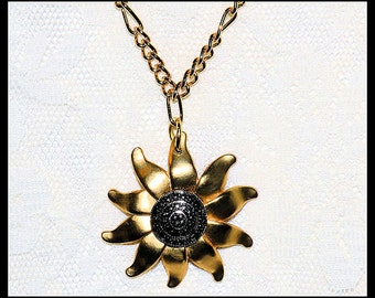18K GP Figaro Chain with Gold tone Happy Upcycled Sunflower Necklace