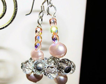 Pink Pearl and Crystal Dangle Earrings, Ladies Earrings, Pearl and Crystal, Sterling Silver