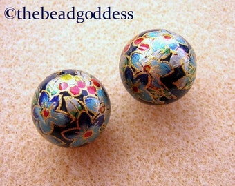 New Larger Pair Japanese TENSHA Beads CLEMATIS on NAVY 14mm
