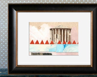 Temple of Hercules Victor - Original Mixed Media COLLAGE Rome Roman Ancient Antique Archaeology