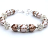 Bridesmaid Jewelry, Cocoa and Latte Bridesmaid Bracelet, Bling Jewelry, Pearl Rhinestone Bracelet