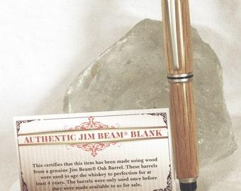 Handmade Authentic Jim Beam Satin Nickel Rollerball with Pen Box