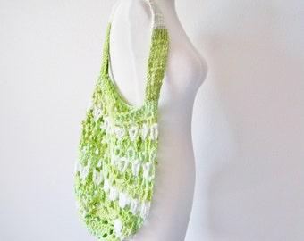 Farmer's Market Bag in Neon Limebaby Green Boho Garden Tote Vintage Inspired Design - Medium - Summer Clearance Sale