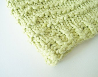 Lettuce Green Hand Knit Beanie in Organic Cotton - Textured Stripes - Slightly Slouchy - Naturally Vegan Friendly