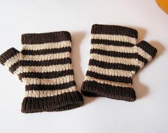Halloween Striped Glovelets - Fingerless Gloves in Bittersweet Chocolate Brown and Eggshell Beige - VEGAN - Linen Cotton Handknit