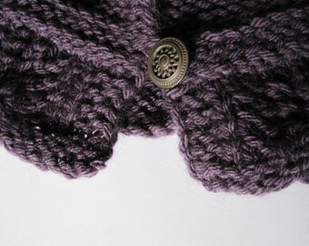 Fall Fashion - Elfin Forest Hood - Button Collar, Detachable Pixie Hoodie Hat - Hand Knit in Eggplant Purple, Winter Accessories
