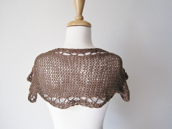 Woodland Brown Shrug Hand Knit in Silk and Merino Wool - Super Soft Short Sleeve Bolero - Open Knit With Lace Eyelets