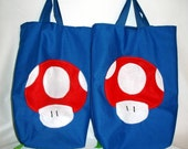 Blue One Up Mushroom Mario Trick or Treat Halloween Tote Gift or Library Bag