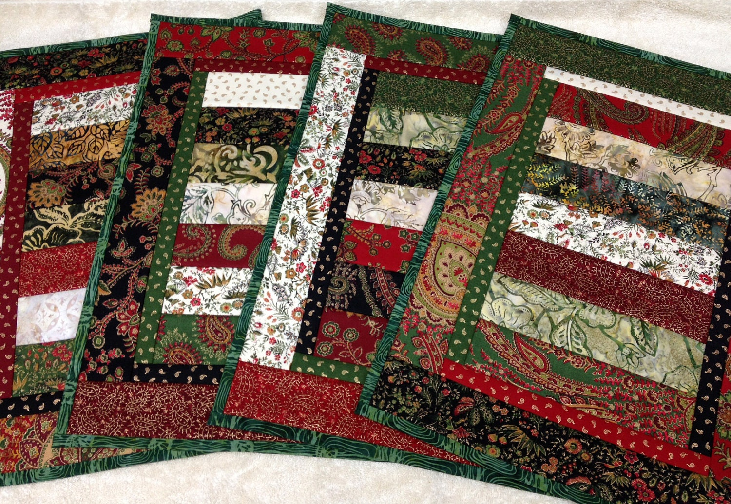 Stunning Quilted Christmas Placemats Set of 4