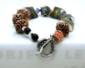 Metallic Lampwork Boho Beaded Bracelet, Boutique Wearable Art, Luxe Bracelet, Geometric Statement, for Her Under 350