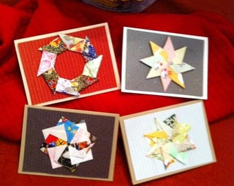 Origami Pin Wheels, Stars, Wreaths and Flowers Greeting Cards - E