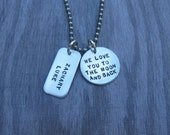 Hand Stamped Jewelry I Love You To The Moon and Back  Necklace For Him With Personalized Name Tag