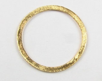 20mm Flat Circle Shaped Bali Vermeil Brushed Line Texture Loop Connector Eternity Rings Links (2 beads)