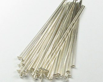 1.5 inches, 26 gauge 26g 26ga Sterling Silver Flat Headpins, Beading Supplies  (20 pieces)