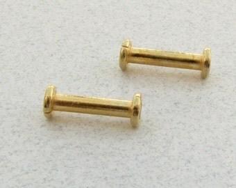 Spool Shaped Bali Gold Vermeil Tube Beads 12mm (4 beads)