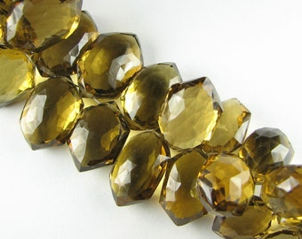 AAA Fancy Cut Double Pointed Puffed Whiskey Quartz Faceted Briolettes 17mm (3 gems)