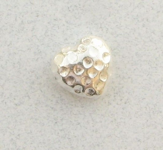 Hammered Matte Bright Sterling Silver Puffed Heart Focal Bead (1 bead)